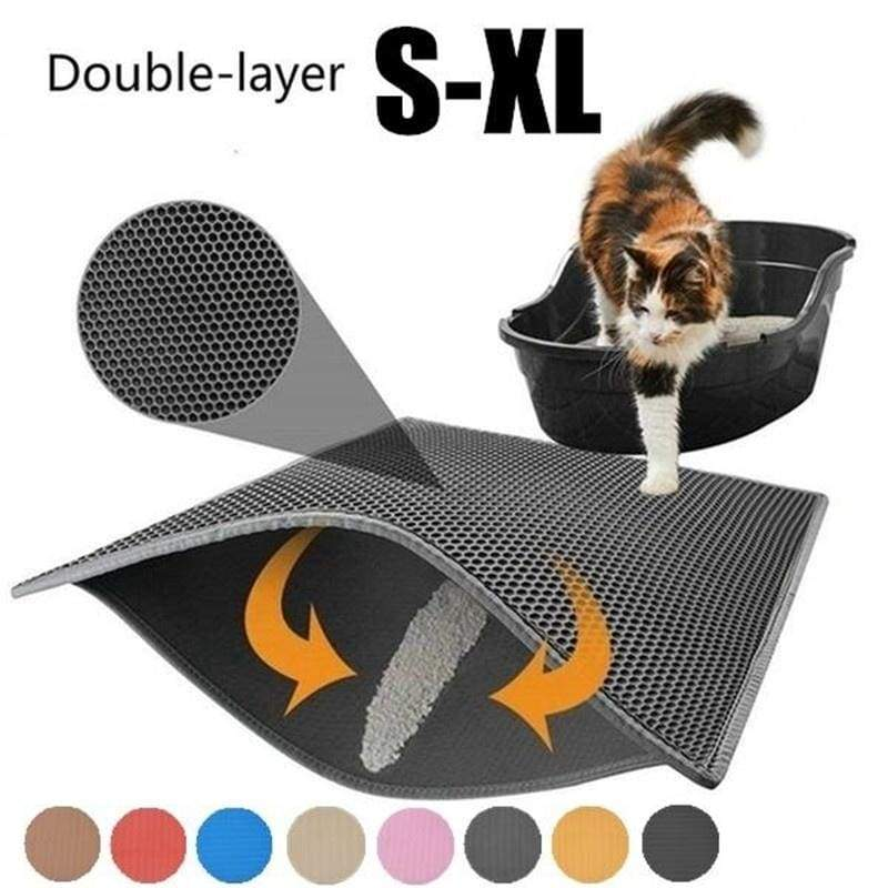 New Double Cat Litter Box Trapper Mat Pad Larger Honeycomb with Waterproof Base Layer EVA Foam Rubber