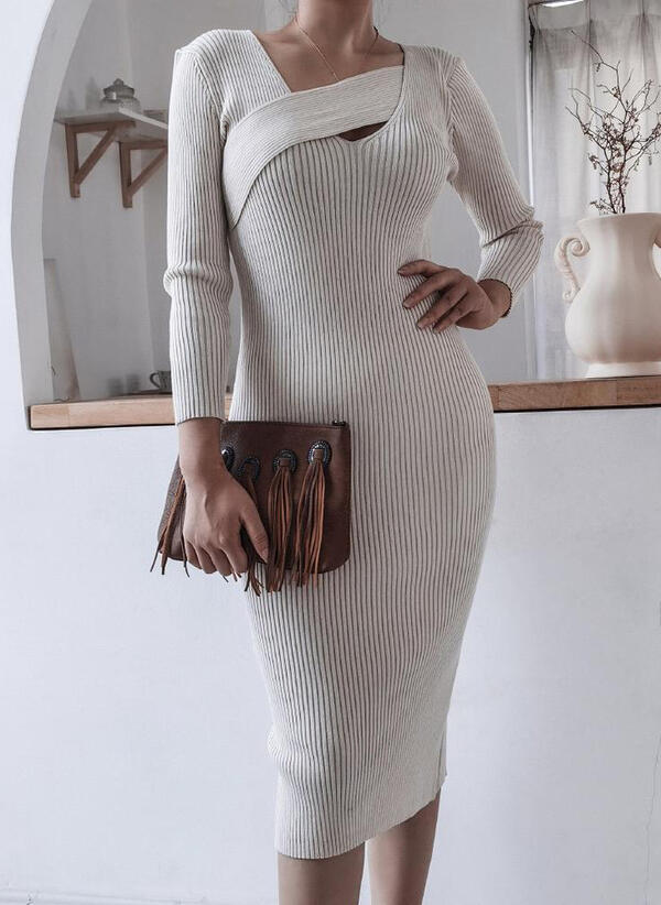 Solid Color Long Sleeves Bodycon Pencil Elegant Midi Dresses