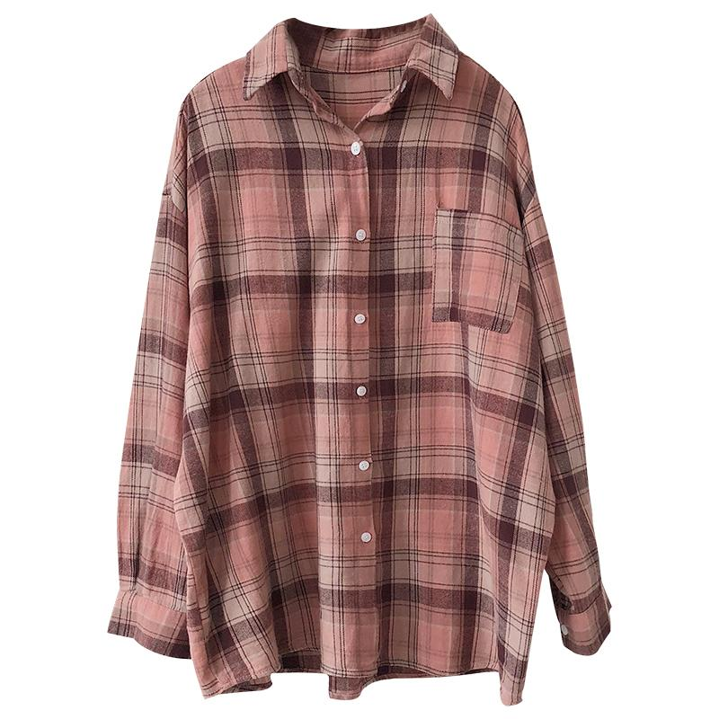Autumn and winter stacked plaid shirt retro washed cotton soft and comfortable college style wild loose shirt women