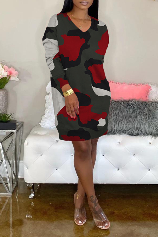 Camouflage Dress With Pockets
