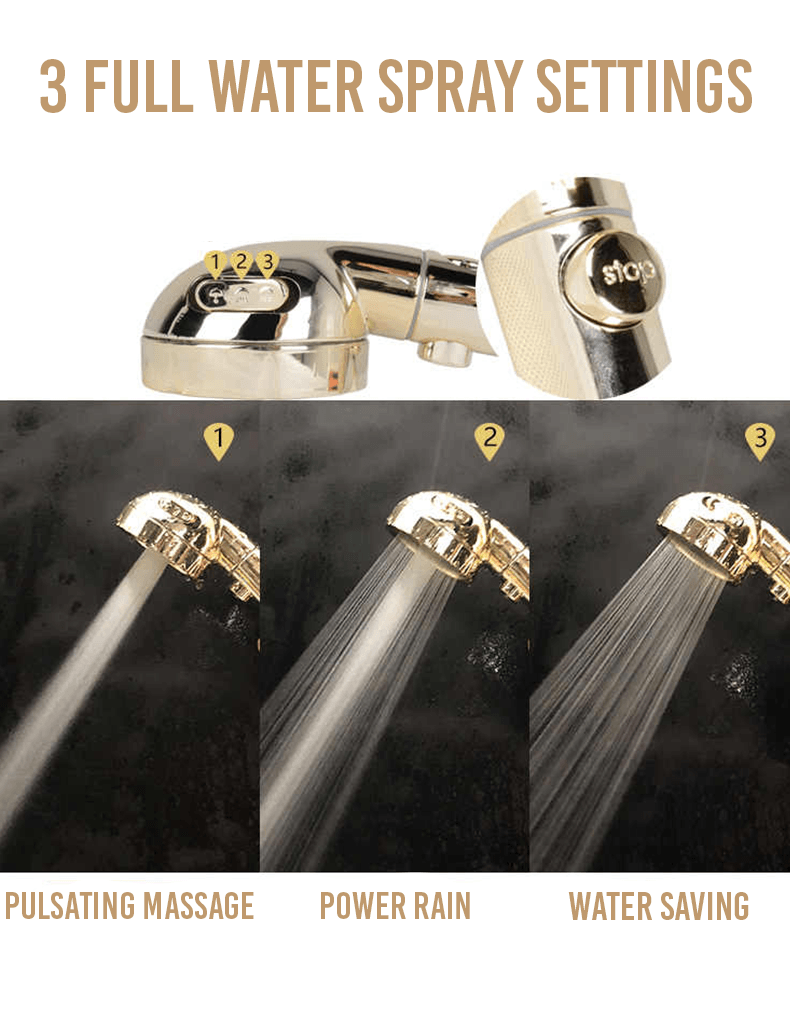 Golden three-speed supercharged shower with one button switch water(Buy 2 Free Shipping)