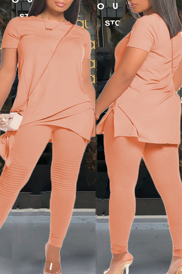 Pleated Short Sleeve Two-piece Set