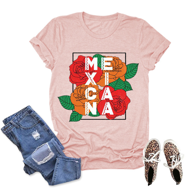 Rose Flower Valentine's Day Mexicana Print Fashion Top T-shirt