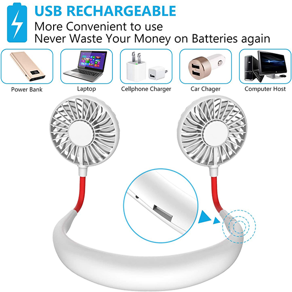 (🔥Clearance Sale - 65% OFF)  Rechargeable Neckband Fan - Buy 2 Get Free shipping