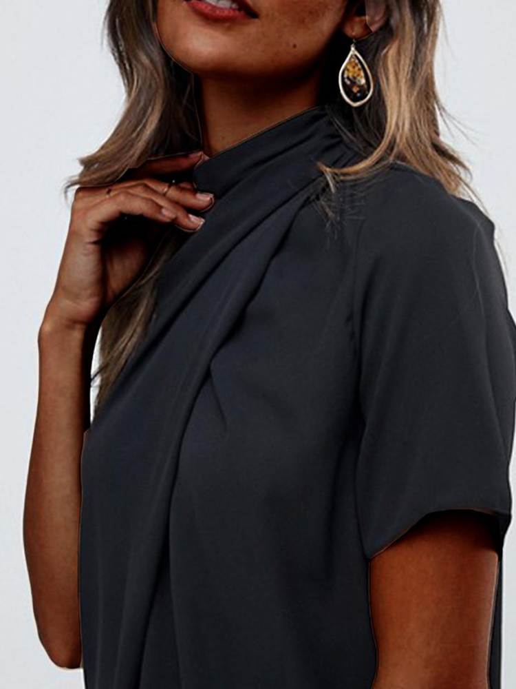 Simple Stand Collar Short Sleeve Top