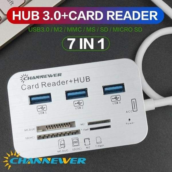 7-in-1 Card Reader with 3 Ports USB 3.0, High Speed External Memory Card Reader Built-in MS,Micro SD,SD/MMC,M2,TF Card Slots ABS Aluminum Alloy Adaptor STONEGO Computer Peripherals Compatible with PC, Tablets, Laptops