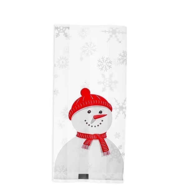 10/30pcs New Christmas Bag Children Snowman Biscuit Bag Pastry Tool Xmas Candy Bags Self-adhesive Christmas Plastic Packaging
