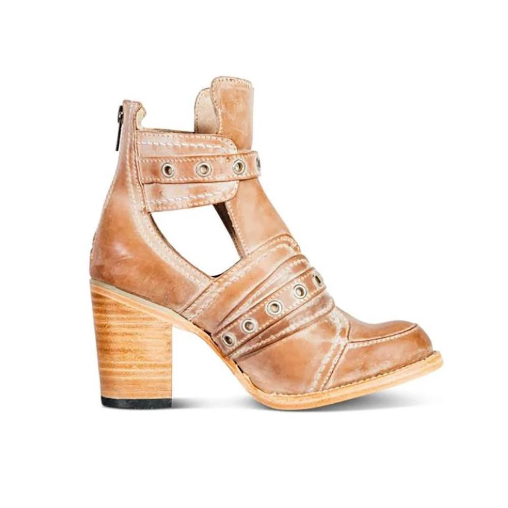 British Style Buckle Strap Chunky Heels Boots For Women