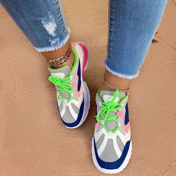 Faddishshoes Lace-Up Low-Cut Upper Round Toe Color Block Sneakers