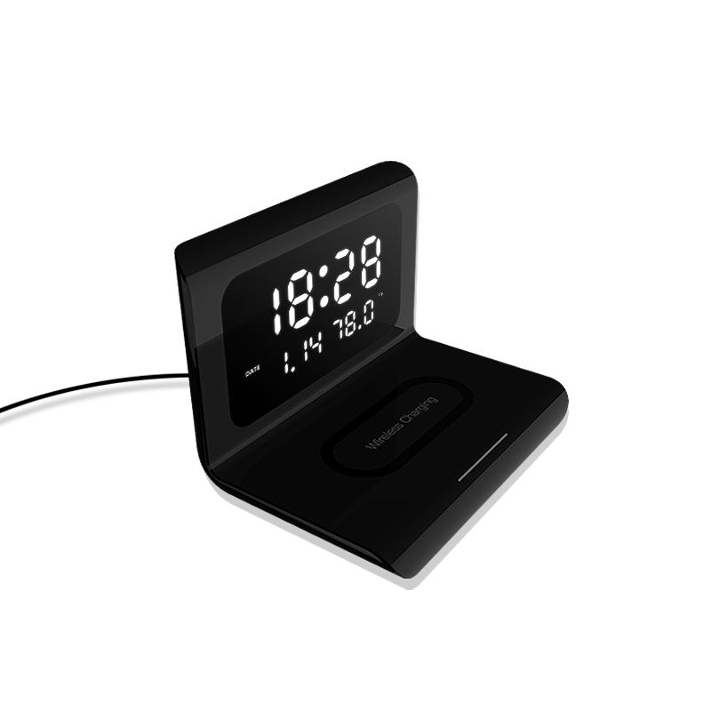 2021 New Creative Wireless Phone Charging Station With Digital Alarm Clock