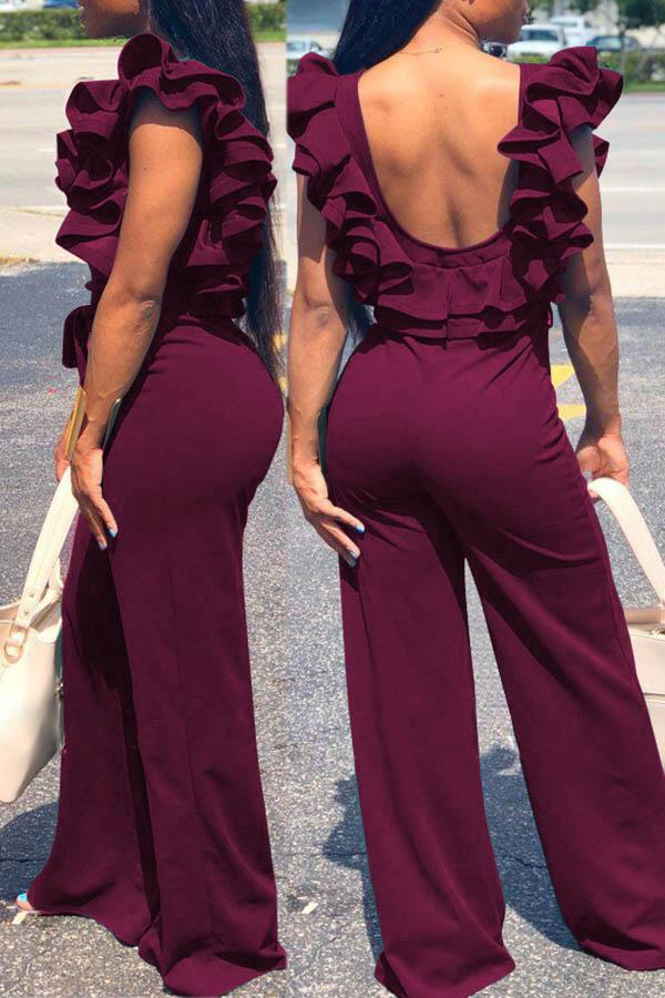 Ruffled Backless Solid Color Wide Leg Jumpsuit