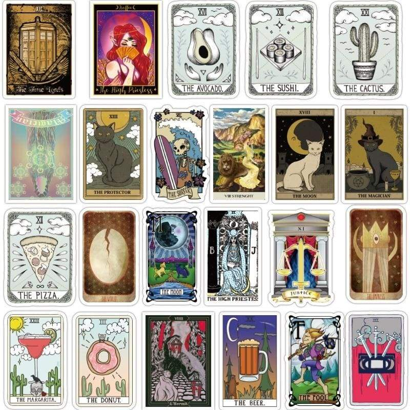 New 25/50Pcs Tarot Divination Sticker Graffiti Stickers For Laptop Skateboard Motor Car Vinyl Decals Stickers