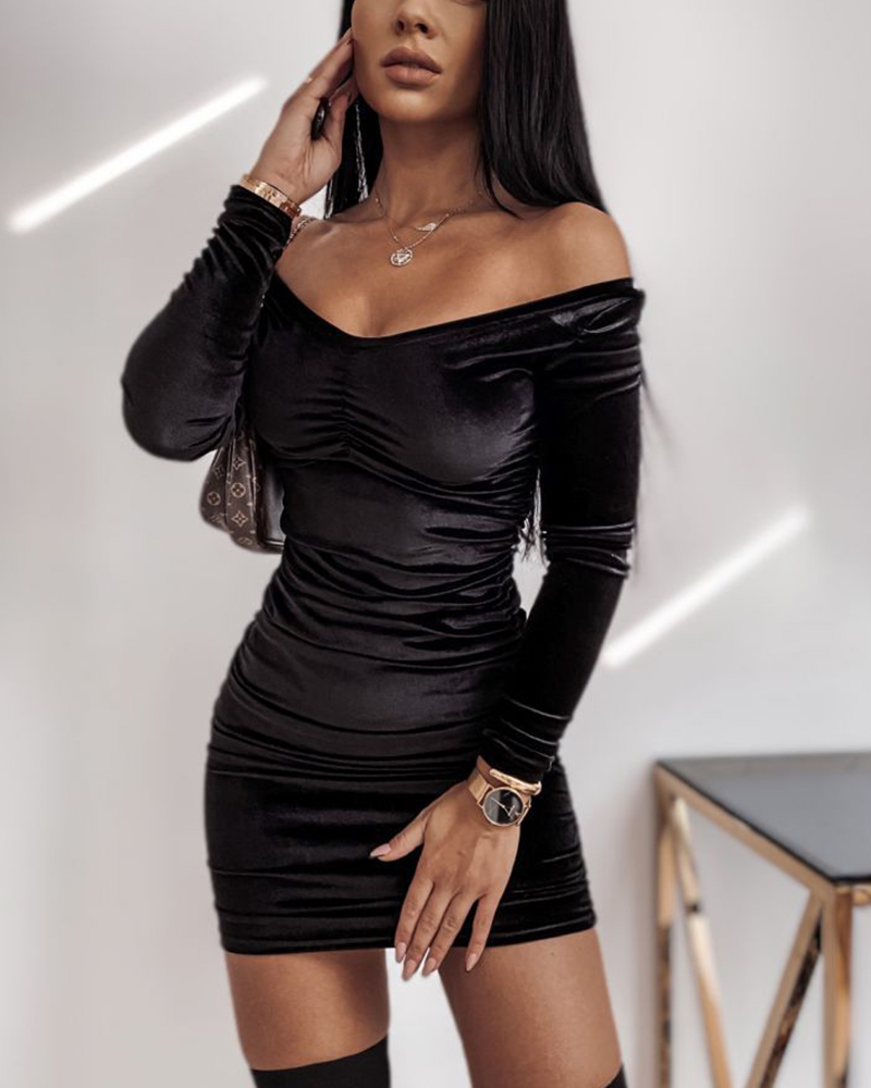Long Sleeve Velvet Solid Color Casual Party Dress