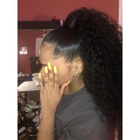 New Curly Lace Frontal Hair   Black/Brown Hair