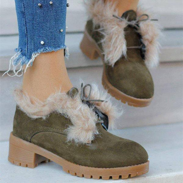 Faddishshoes Casual Artificial Suede Lace Up Chunky Heel Boots