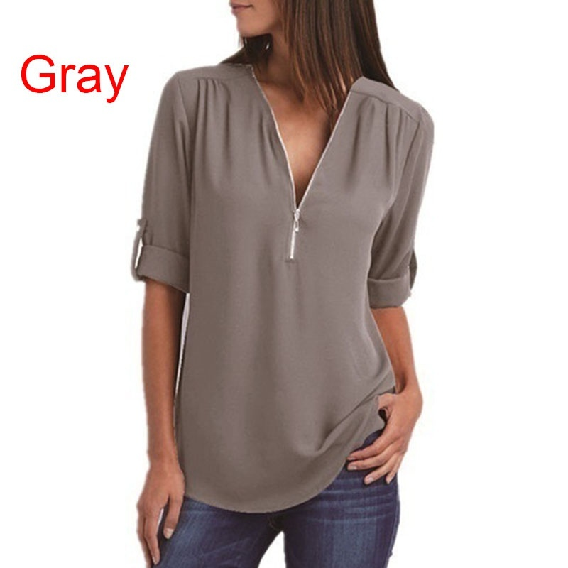 2019 Plus Size Women's Fashion Chiffon Shirt V-neck Long Sleeve Loose Tops Zipper T-Shirt( S-5XL)