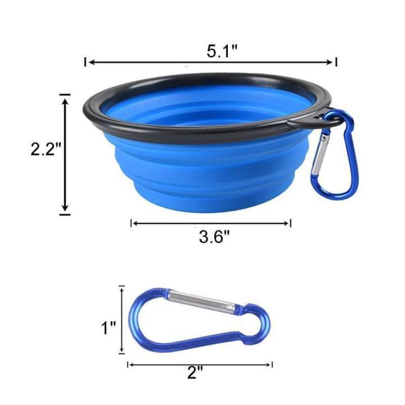 Portable Collapsible Food Grade Silicone Dog Pet Bowl with Carabiner