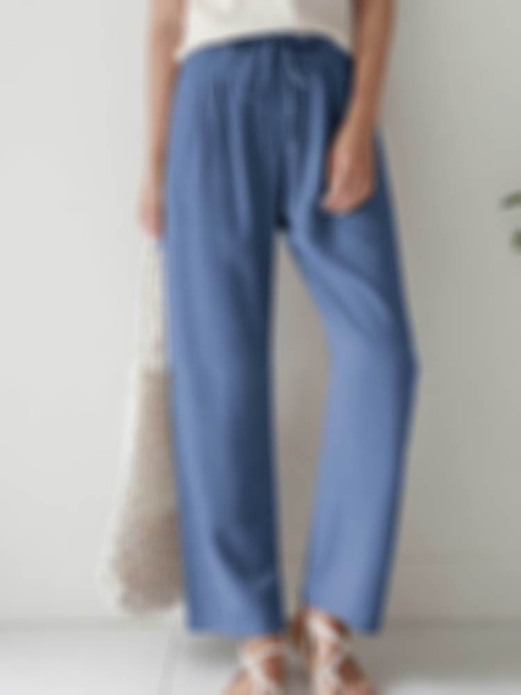 ✨NEW IN✨Women Straight Leg Stretch Waist Cotton and Linen Pants(UP TO 4XL)