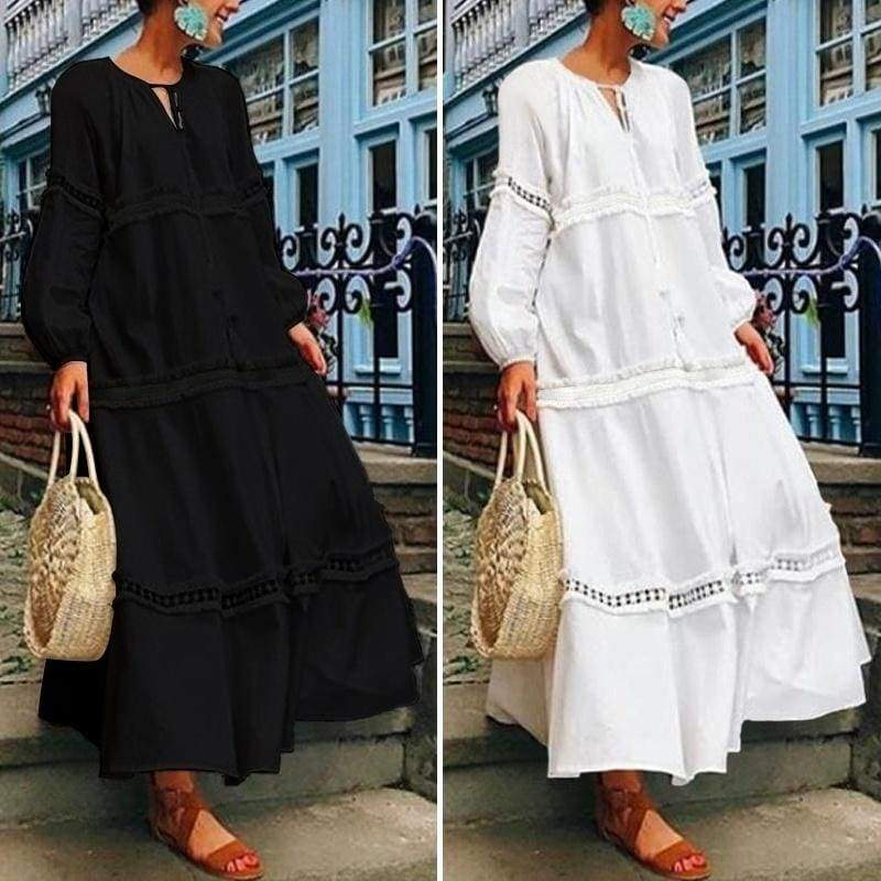 Plus Size Women Tassel Solid Party Dresses Casual Long Sleeve Loose Dress