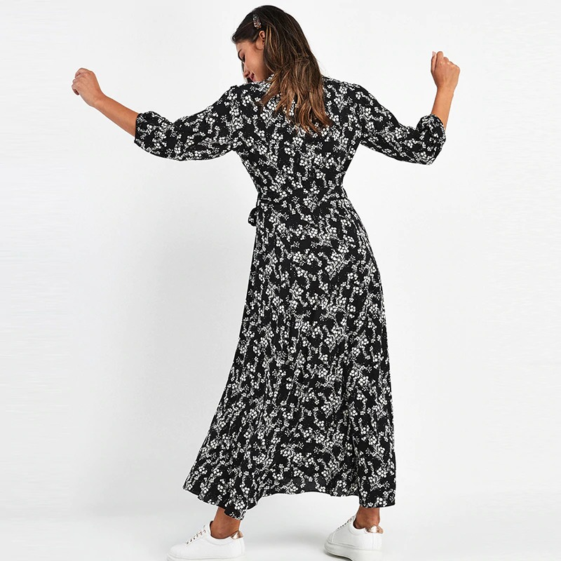 Vintage Floral Print Maxi Dress Ladies Boho Three Quarter Sleeve Dress Long Turn Down Collar Dresses Shirt Casual Robe