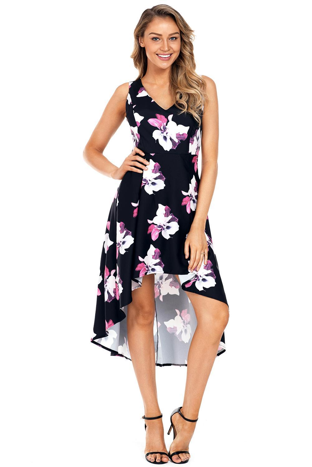 Women Clothing Designers The Best Fushcia Floral High Low Hem Midi Dress