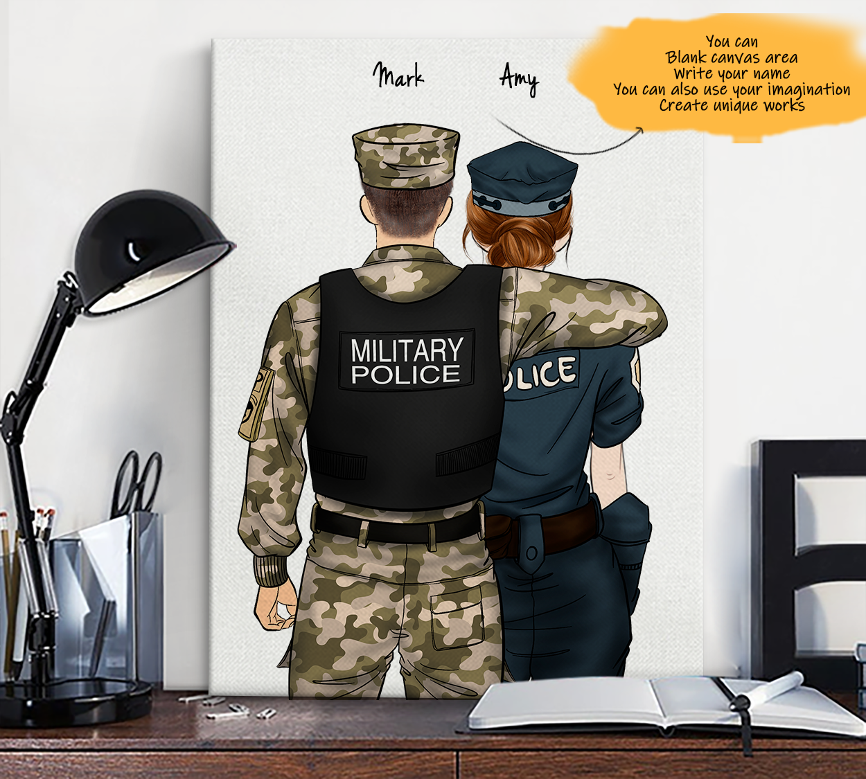He is My Friend! Hand Draw Custom Canvas-Print Gift Military Police US-Light&Police1