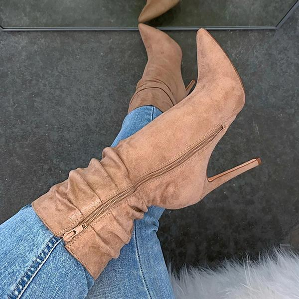 Lemmikshoes Suede Solid Color Semi Nude High Heel Boots