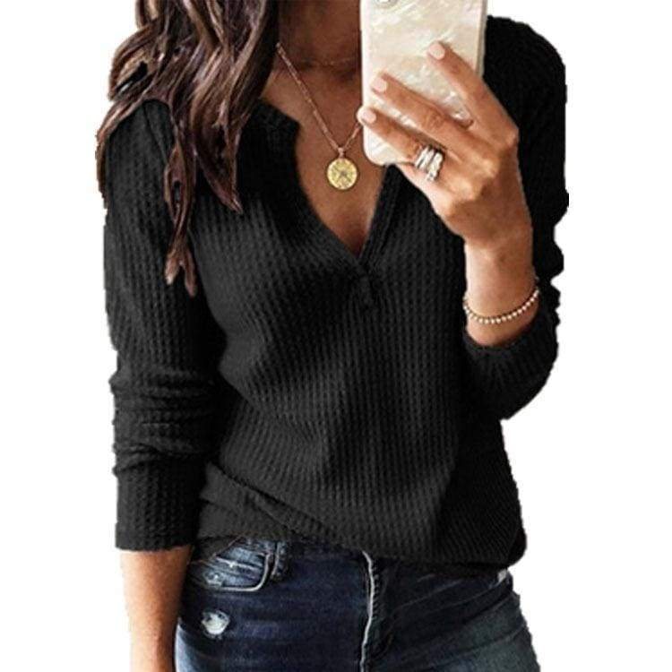 Plus Size XS-8XL Autumn and Winter Fashion Ladies Tops Pure Color Casual Knitting Shirts Women Loose V-neck T-shirt Long Sleeve Pullover Blouse