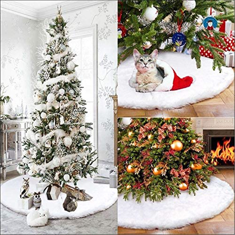 48 Inch Christmas Tree Plush Skirt Decoration for Merry Christmas Party