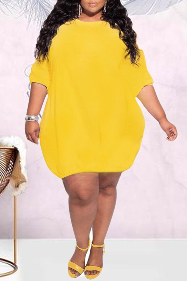 Loose Plus Size Round Neck Dress