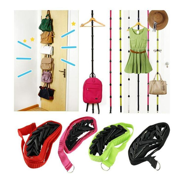 Adjustable Over Door Closet Straps Hanger Hooks for Hats Bag Clothes