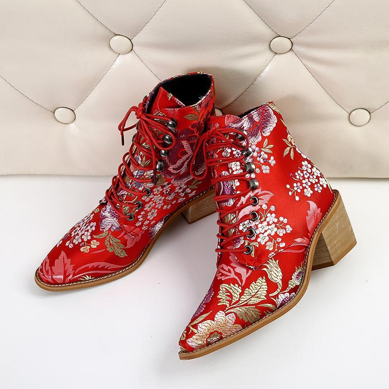 Women Embroidery Chunky Lace Up Heeled Boots