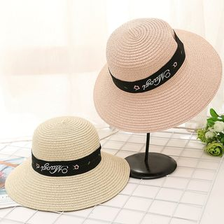 Buttercap - Lettering Embroidered Straw Hat