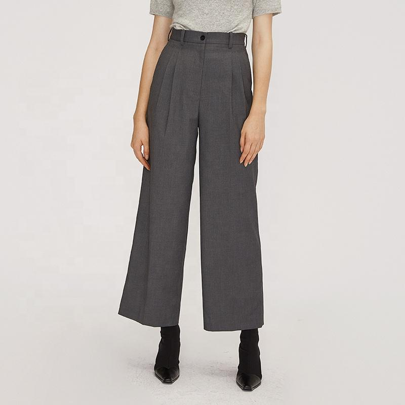 casual long high waist wide leg office lady style work gray pant women trousers-carrot trousers 2.11