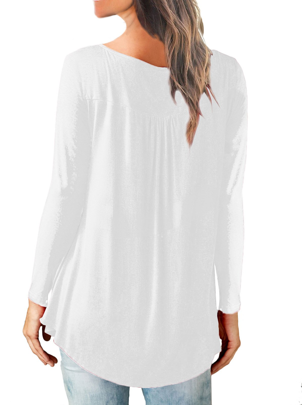 Women Plain Ruched Long Sleeve Button Casual Tops