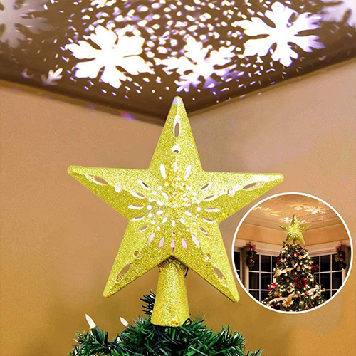 Christmas Tree Decorated With Stars Tree Topper Lit