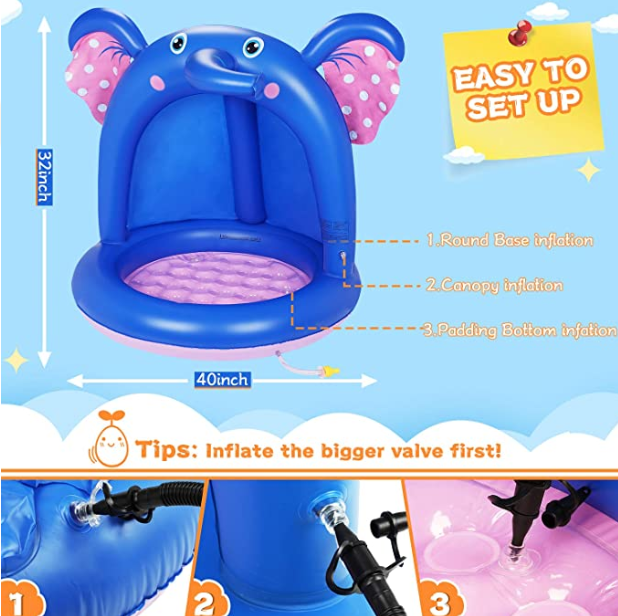 Inflatable Baby Pool, Elephant Baby Splash Pool with Canopy Extra Soft Bubble Base for Kids Toddlers, Spray Water Fun Summer Blow Up Shade Pool for Outdoor and Indoor