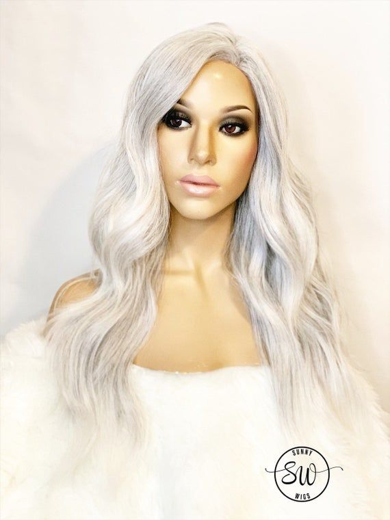 2021 New Lace Front Wigs Water Color Wigs Granny Grey Hair Asian Gray Hair