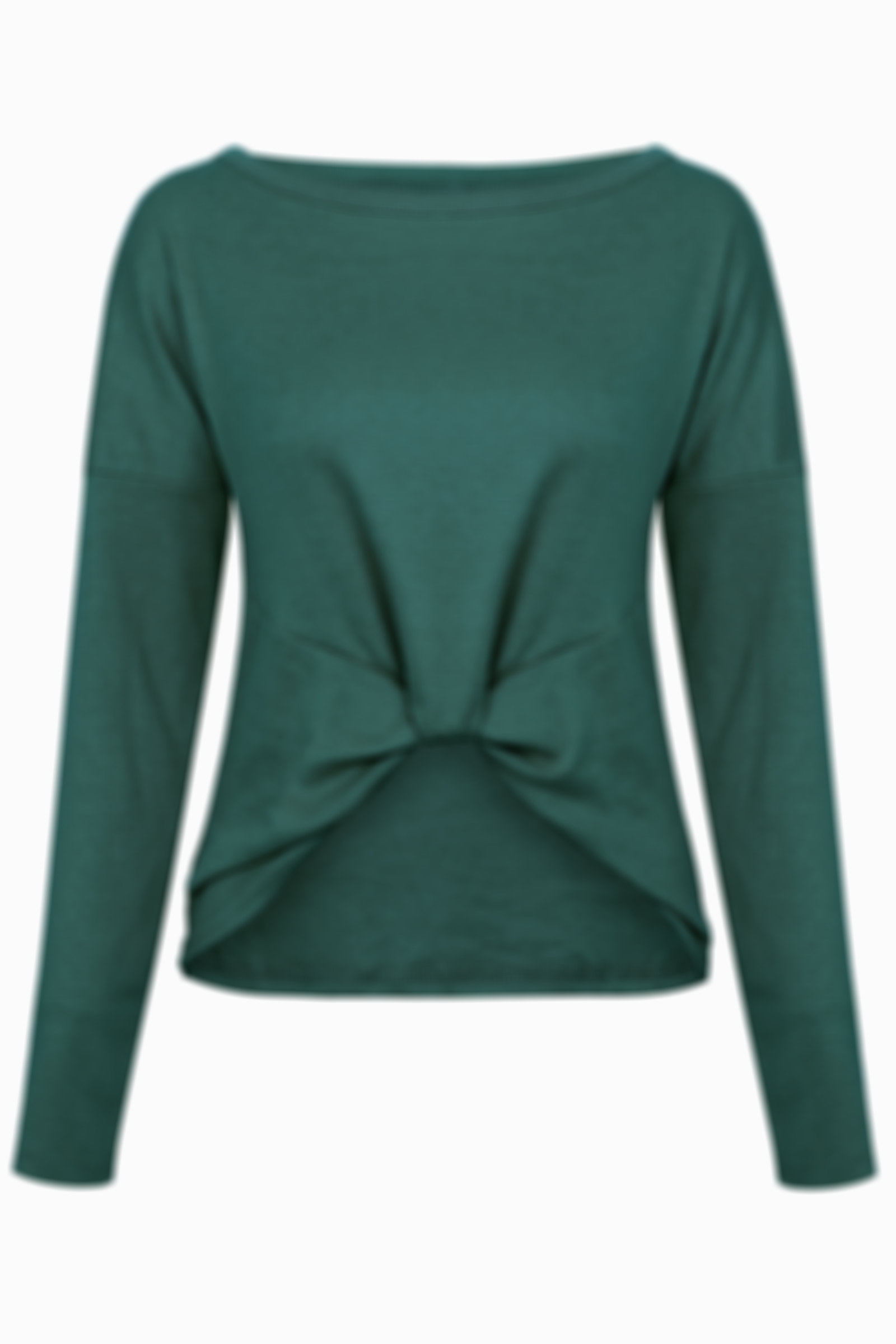 Solid Round Collar Long Sleeve Top with Knot