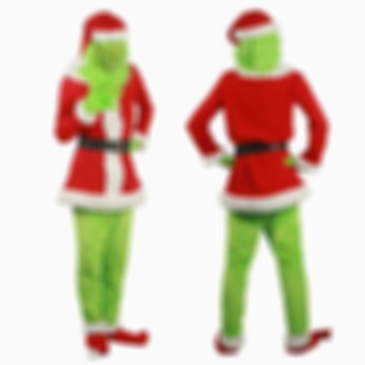 AHOME7 (Only $46.99) About to Sold Out) How The Grinch Stole Christmas Movie Cosplay Grinch Costume Full Set With Mask Cosplay Suit