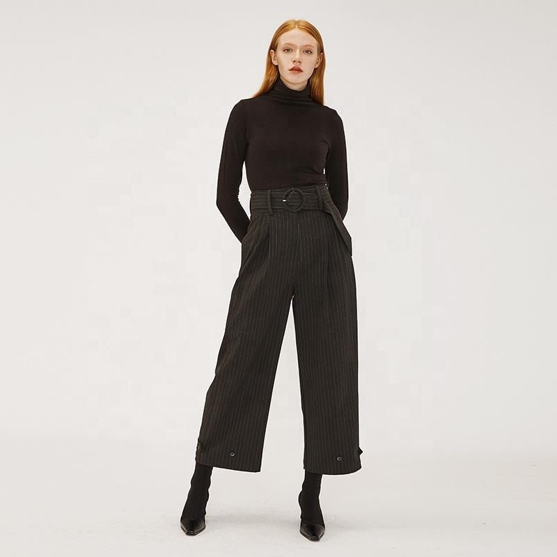 striped high waist wide leg  stereo tailoring Neutral style premium quality  casual long women pants career daily wear-carrot trousers 2.11