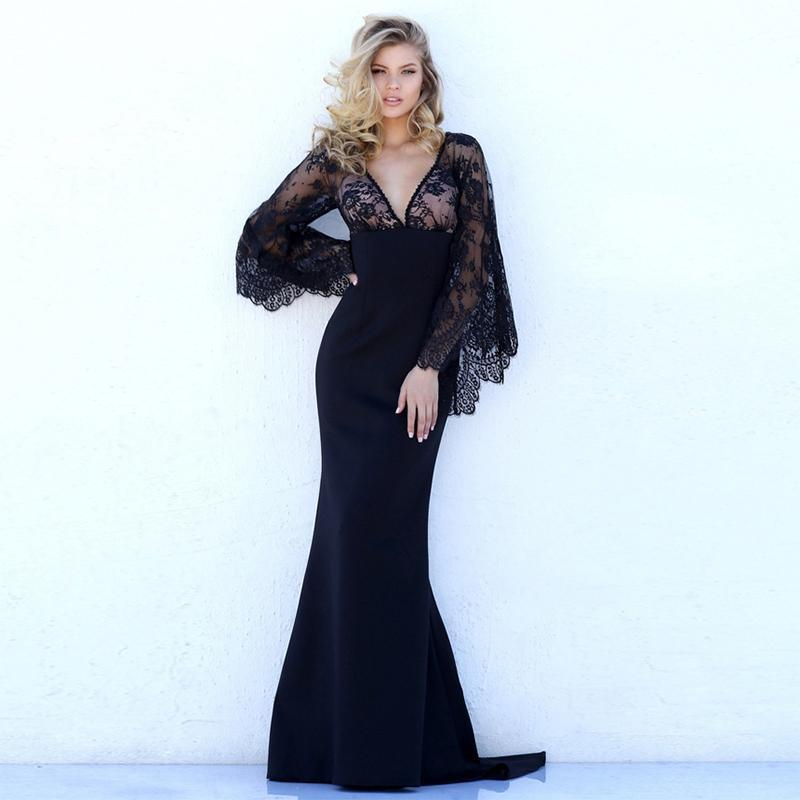 Classic Floral Evening Dress With Long See Through Sleeves