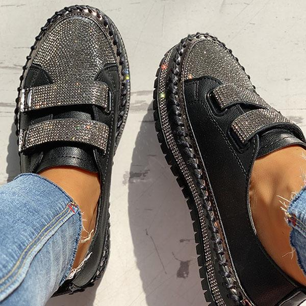 Faddishshoes Studded Insert Sequins Sneakers