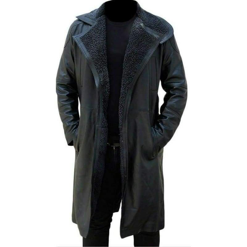 Mens Fur Lapel Collar Trench Leather Coat Winter Lambskin Long Jacket Gothic Black Faux Fur Overcoat
