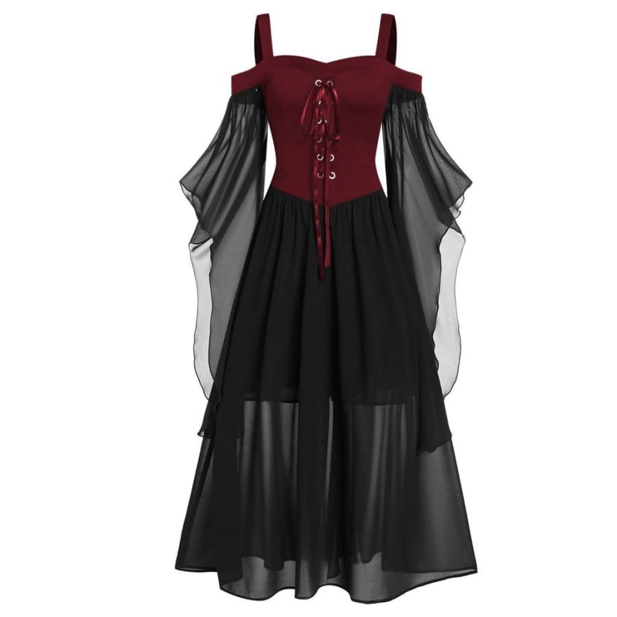 Womne Plus Size Cold Shoulder Butterfly Sleeve Lace Up Halloween Dress (L-5XL)