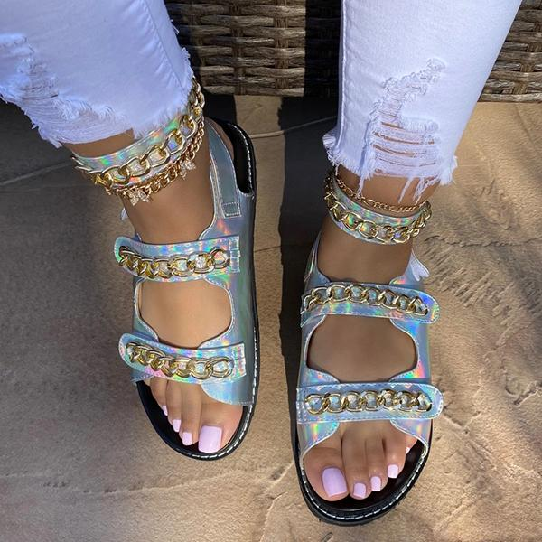 Zoeyootd Double Strap Chain Adjustable Ankle Closure Sandals