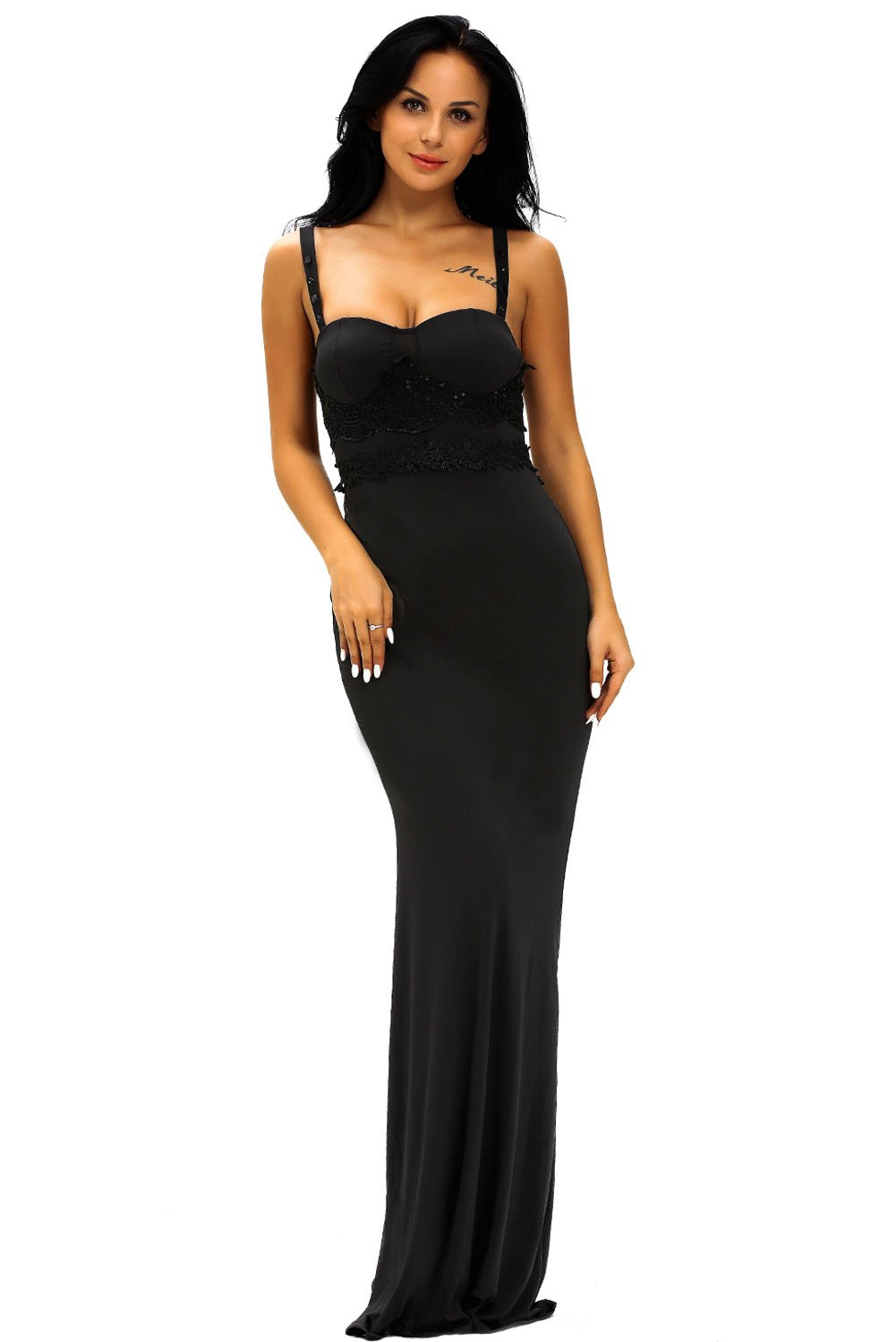Fashion Clothing Black Lace Detail Long Prom Party Maxi Dress