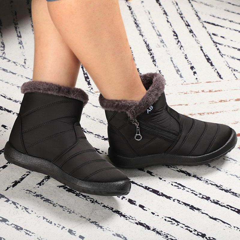 Women's Waterproof Warm Lining Zipper Soft Sole Ankle Short Snow Boots