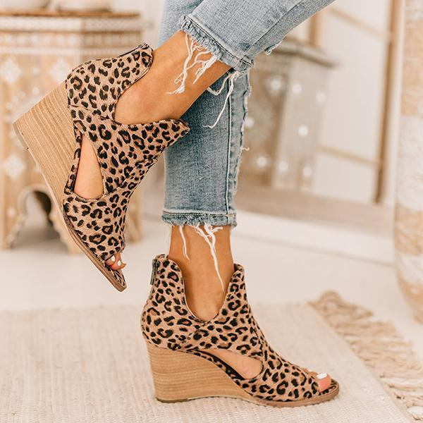 Zoeyootd Leopard Open Toe Wedges (BEST SELLER)
