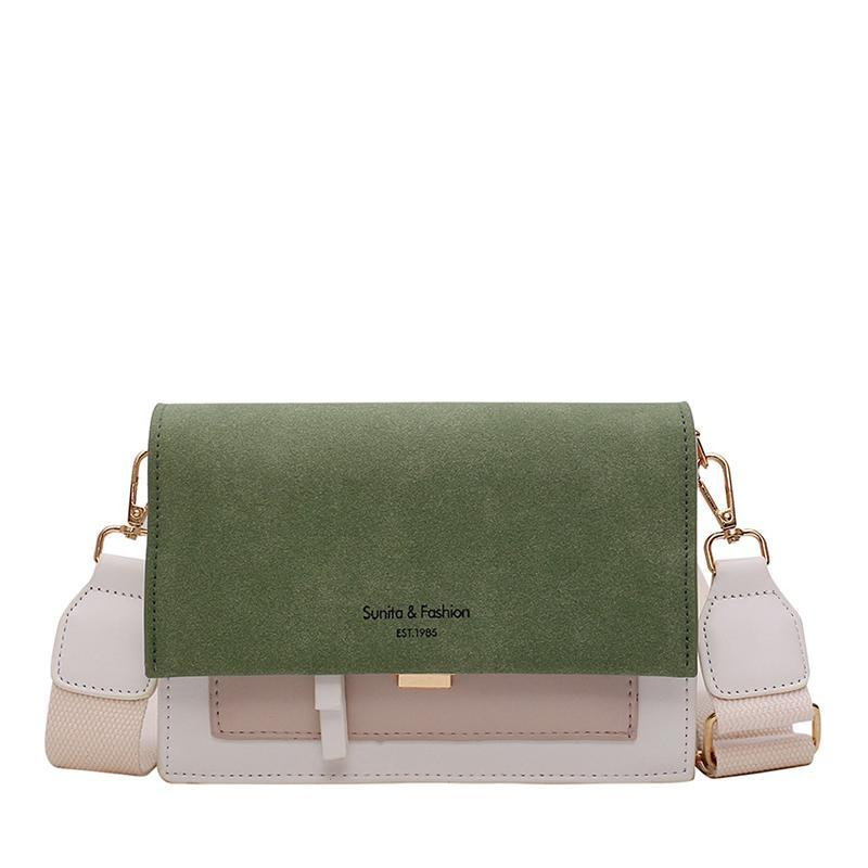 Scrub Leather Contrast Color Crossbody Bags For Women